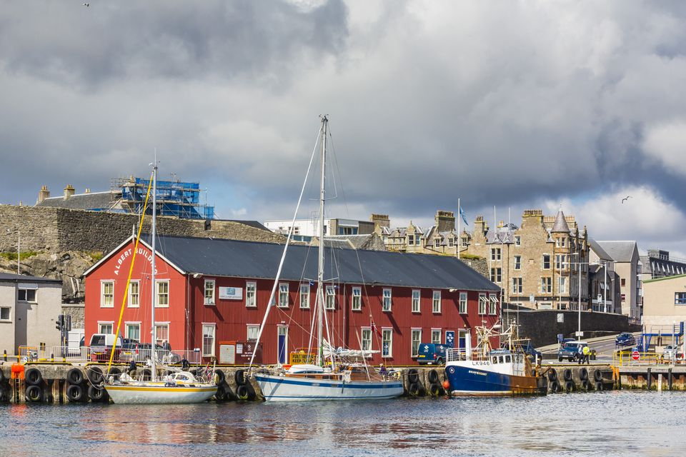 A view of Lerwick harbor on Shetland Mainland