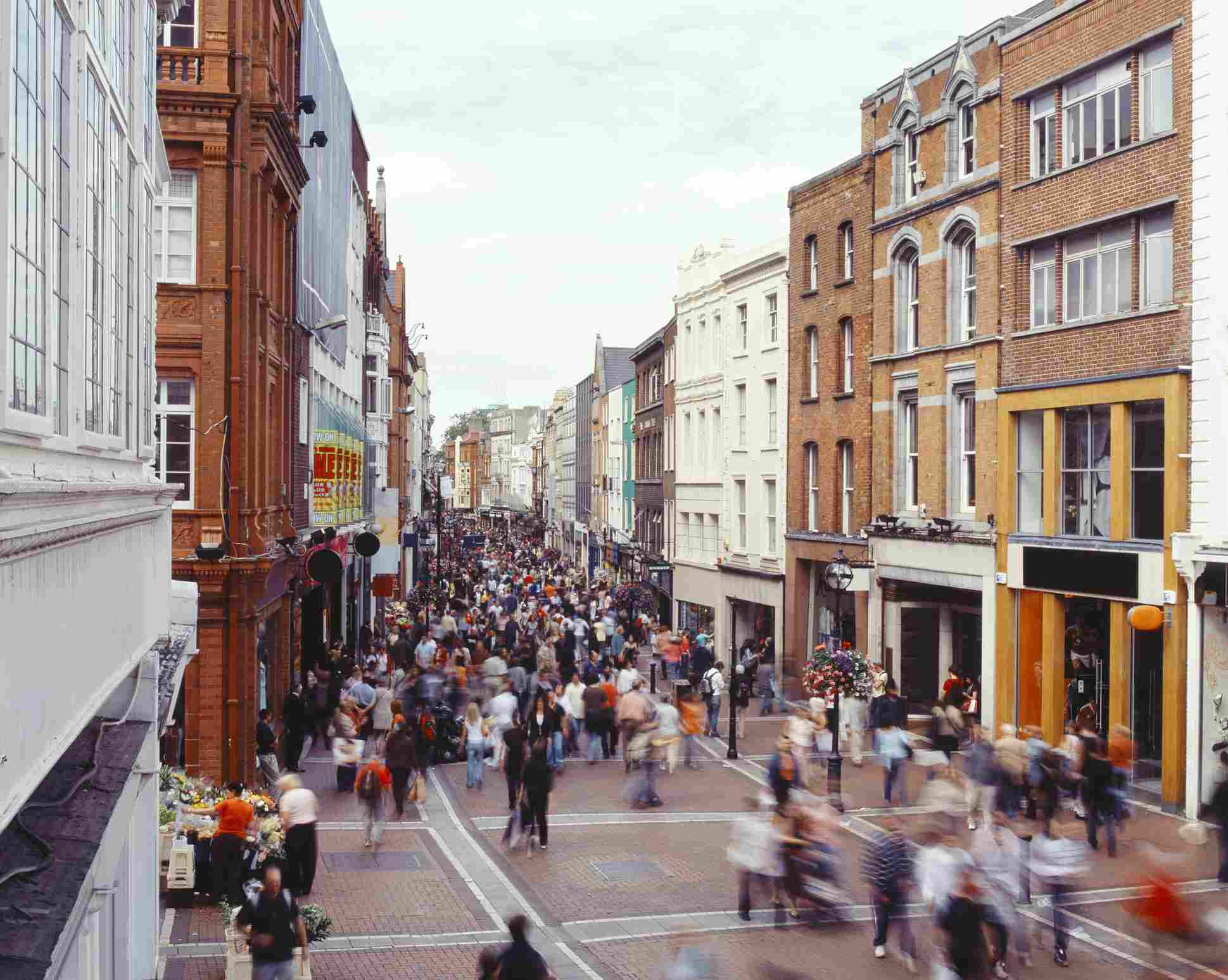 Grafton Street filled with people in Dublin