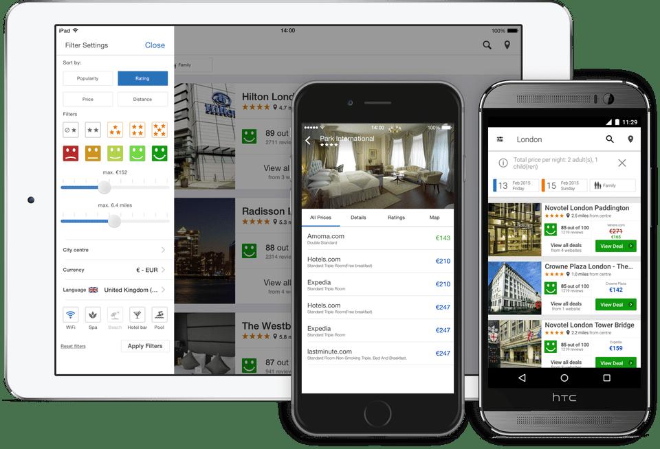 La familia de sitios web y aplicaciones para teléfonos inteligentes de Trivago