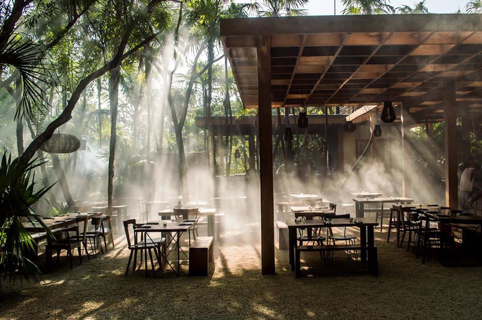 the outdoor dining space at Arca