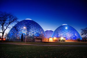Twilight falls over the Mitchell Park Horticultural Conservatory.