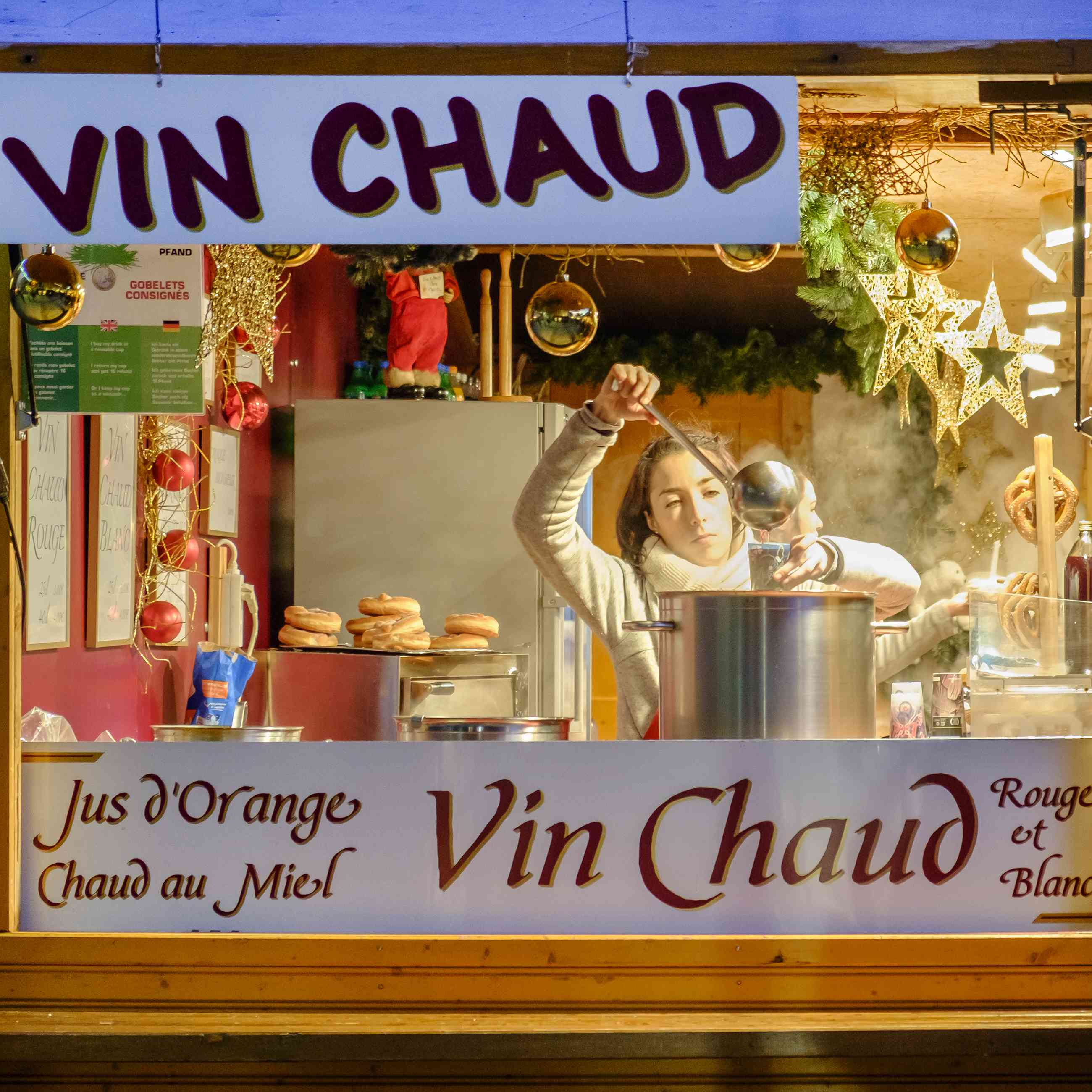 Vin chaud (mulled wine) served at a Christmas market in Strasbourg