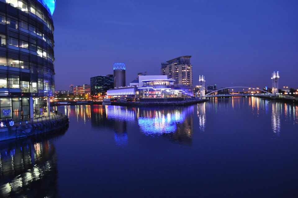 Manchester at Night viewed from the water
