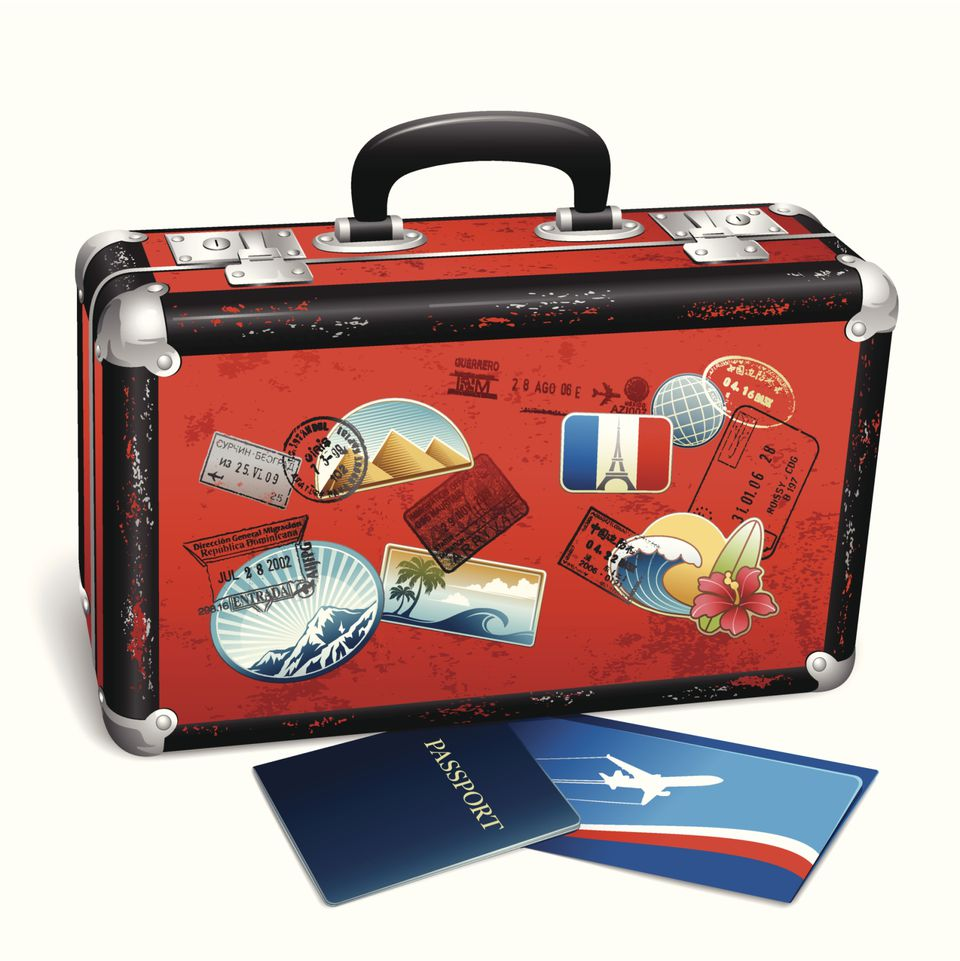 suitcase with passport