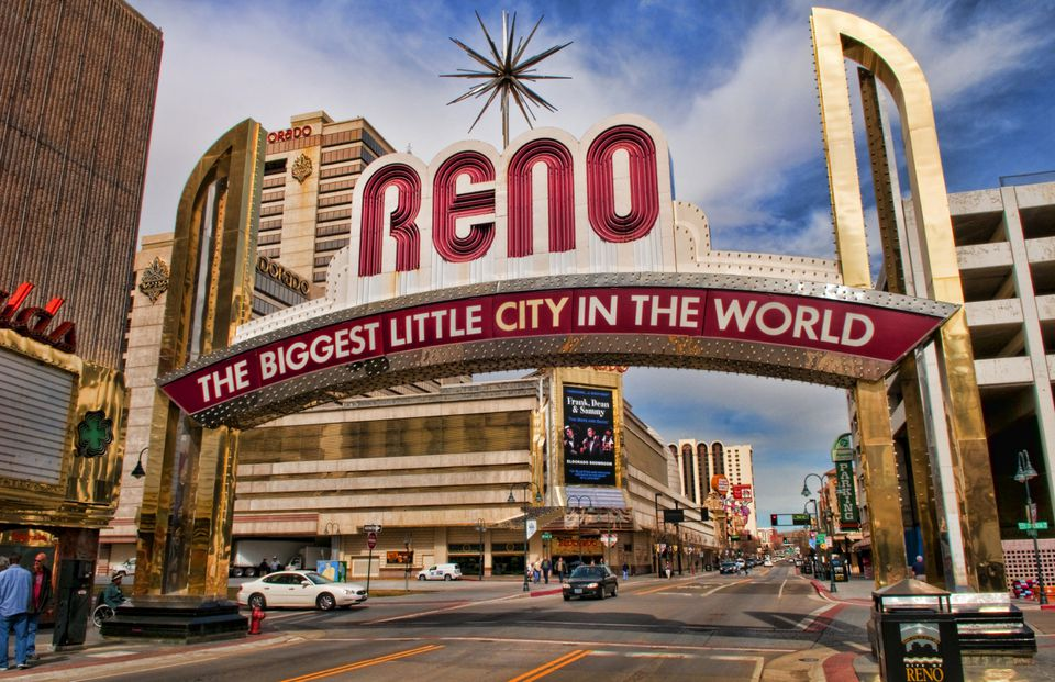 Sign above street in Reno, Nevada, USA