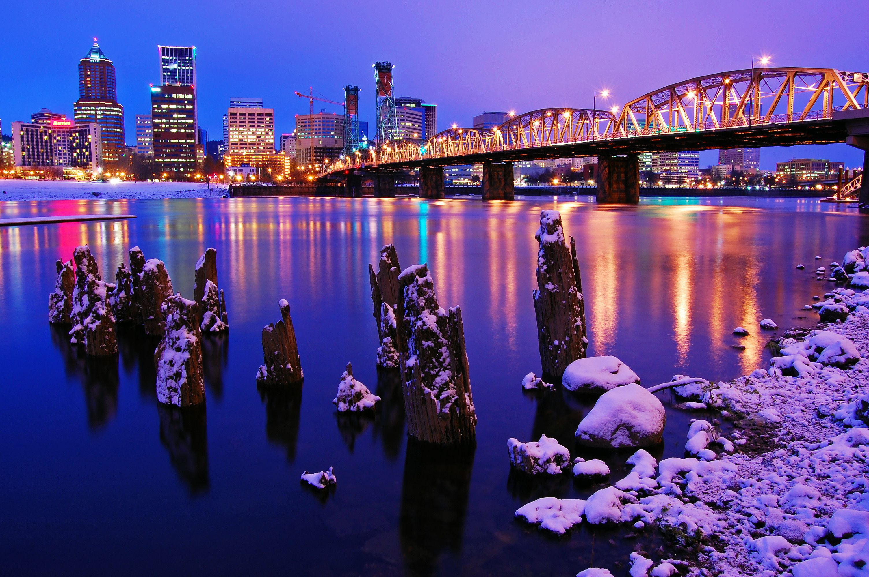 Overlooking a river in downtown Portland, Oregon.