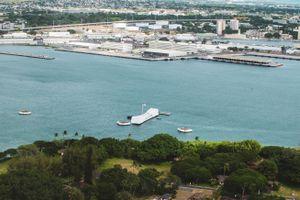 Aerial view of Pearl Harbor memorial