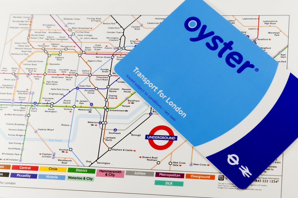 Oyster Card and map of London Underground