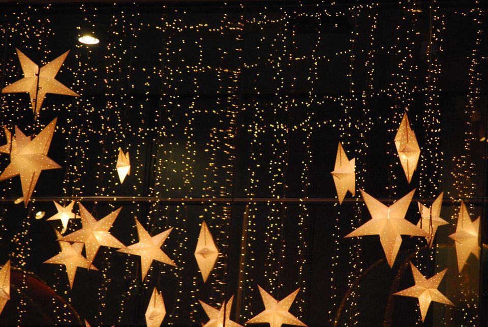 Stars and strings of Christmas lights