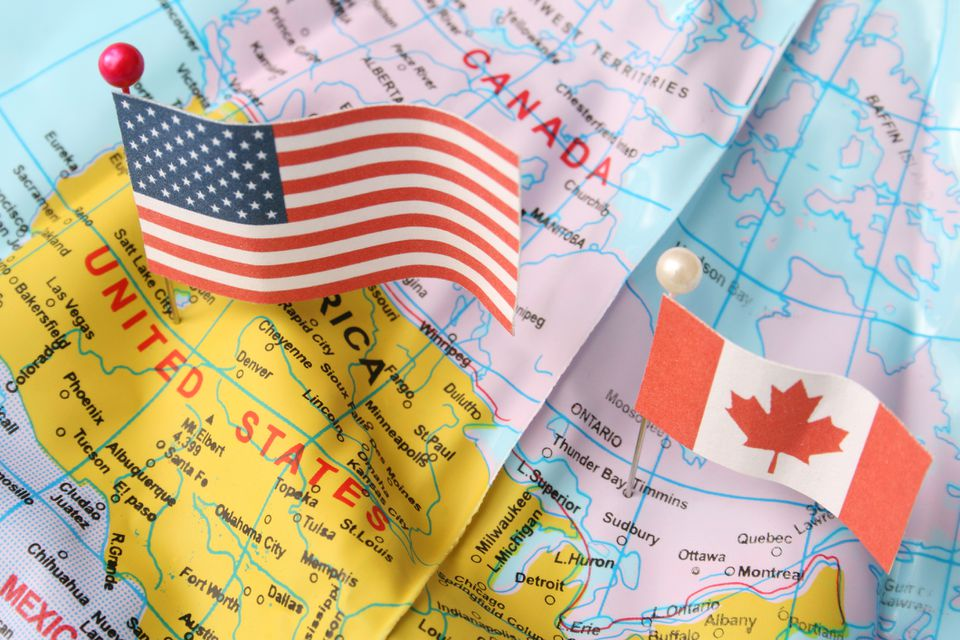 USA and Canada on a map