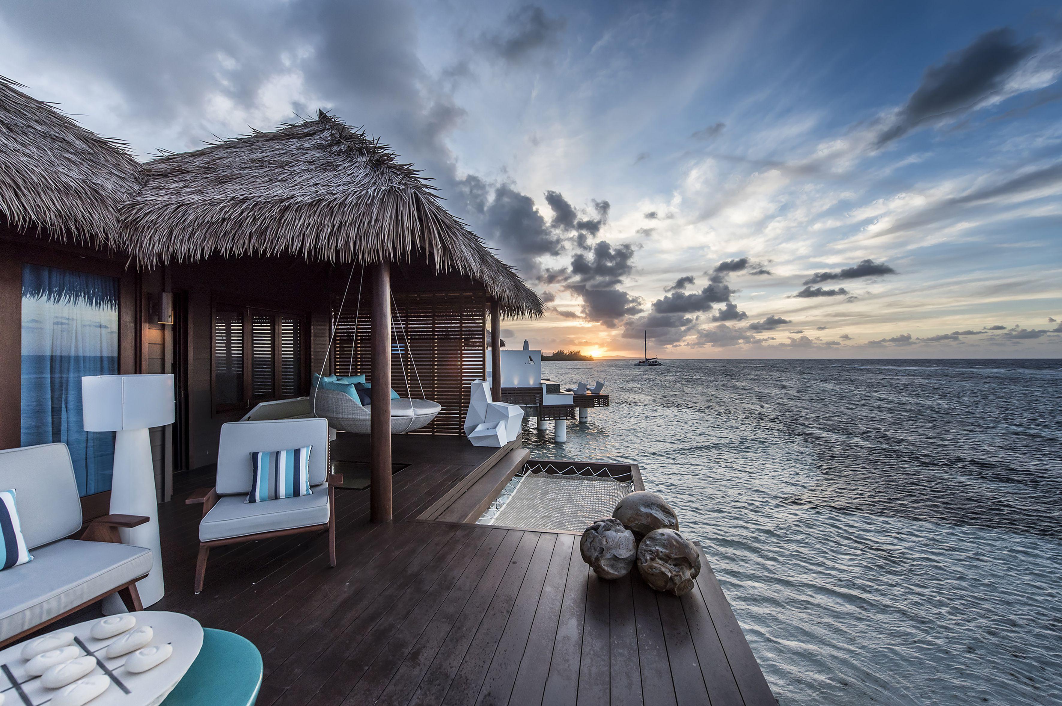 Exterior deck of Sandals overwater villas