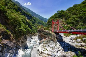 Road, bridge and tunnel crossing Taroko National Park, Taiwan gorges