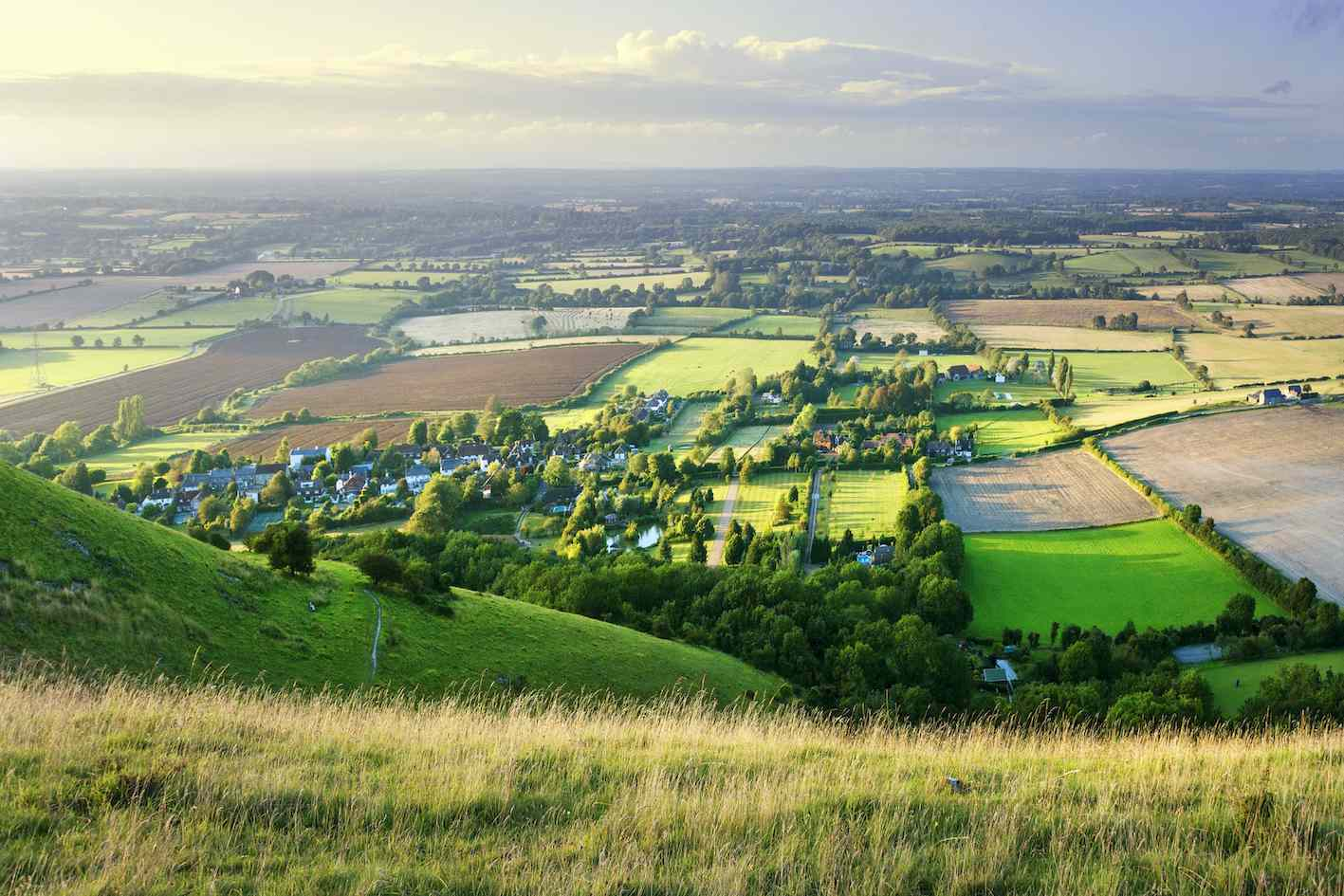View of farmland from the top of the South Downs Way, UK