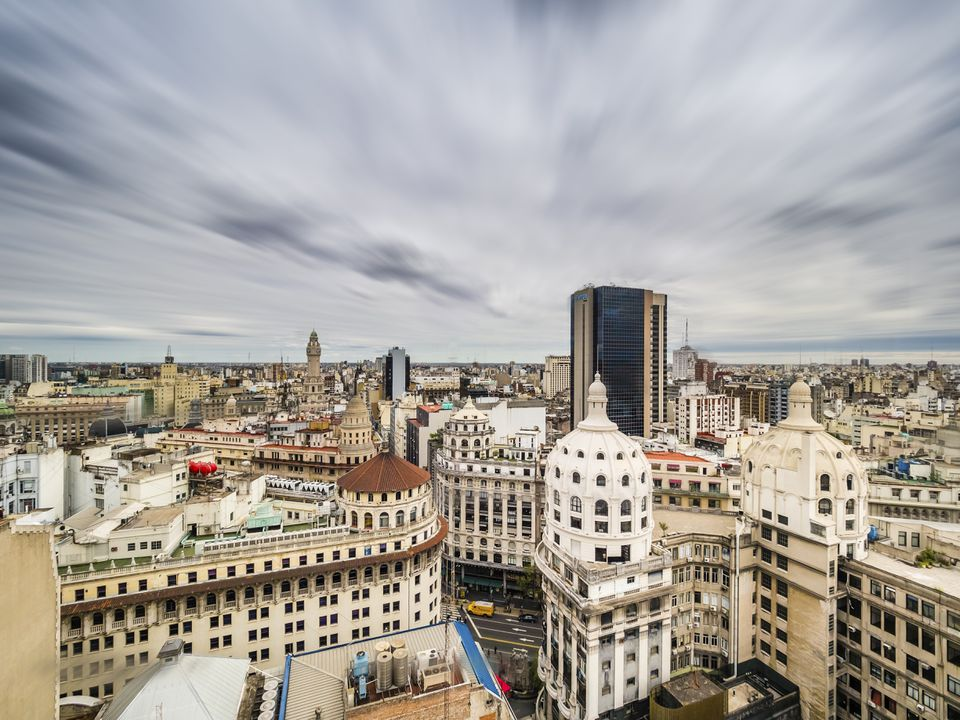Argentina, Buenos Aires, view to districts Monserrat and Recoleta from above