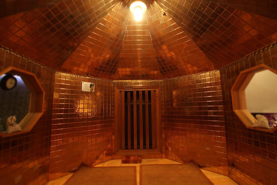 gold-lined sauna at Spa Castle in Queens