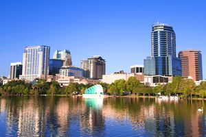 Downtown Orlando view from the Lake Eola, Florida.