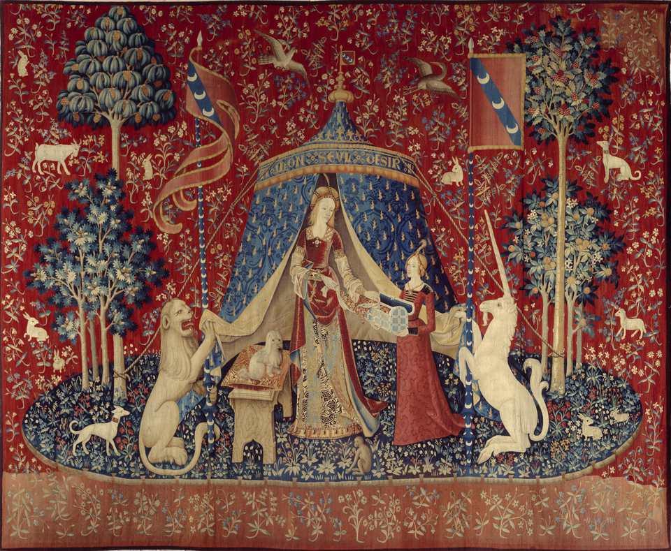 """""""La Dame a la Licorne"""" Flanders tapestry circa 1500."""