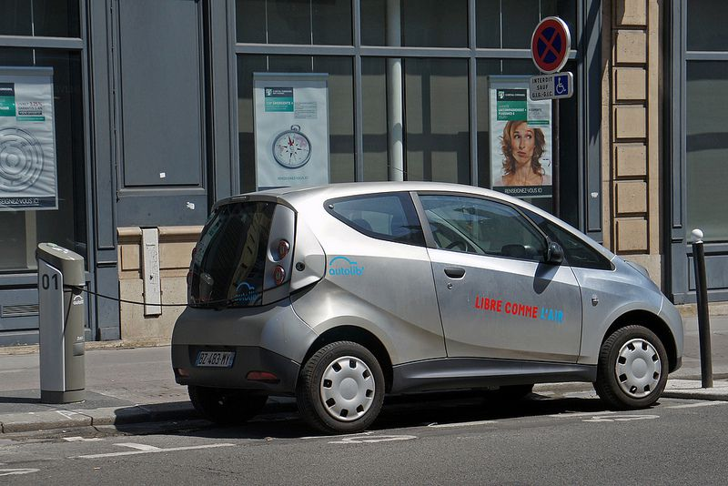 "Paris Autolib' ""blue cars"" are available at several designated points throughout the city."