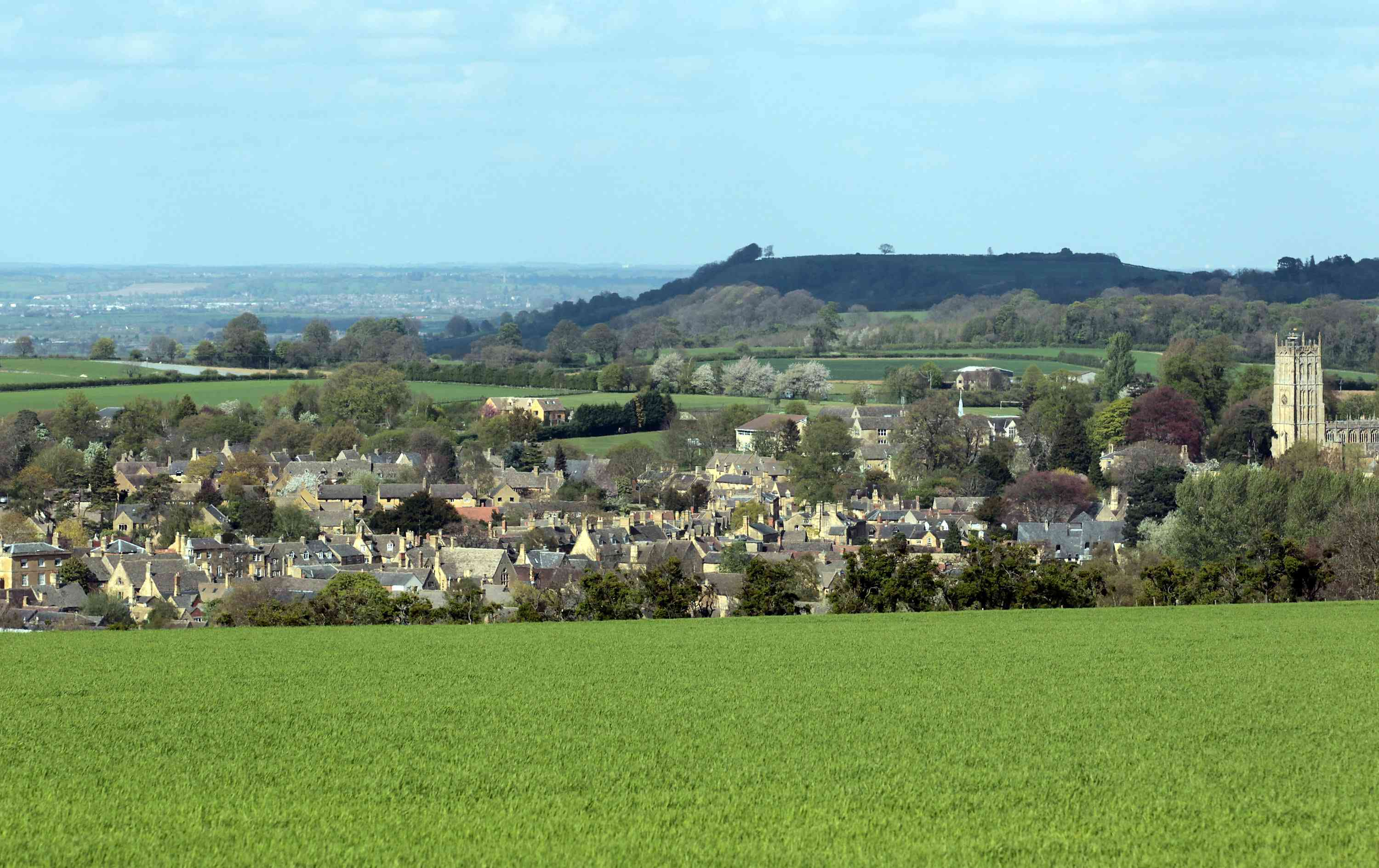 Flat-topped Dover's Hill overlooks the pretty Cotswold town of Chipping Campden.