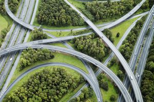 Aerial shot of highway crossovers in Germany