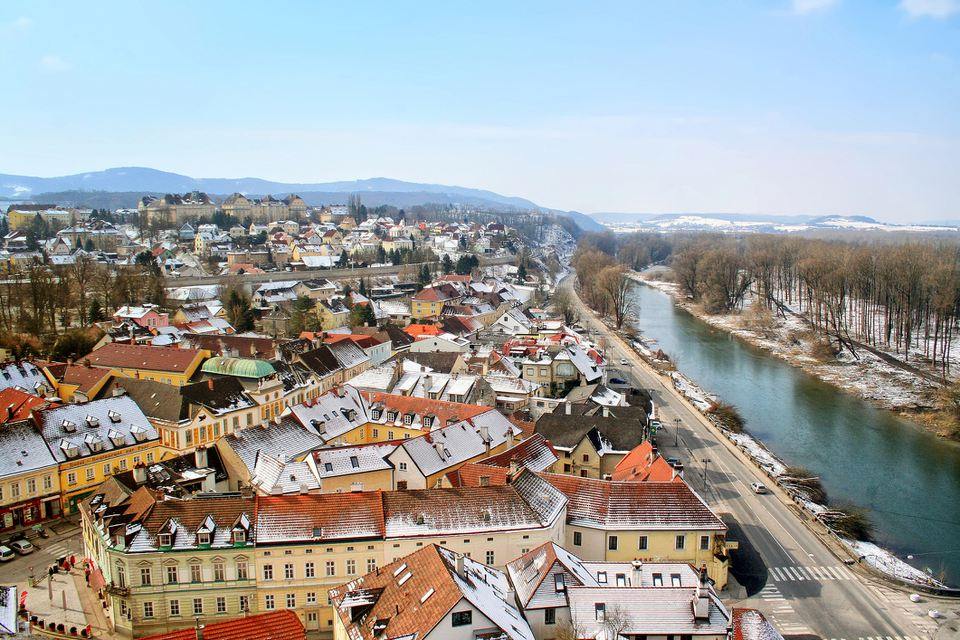 Looking down on Melk, Austria