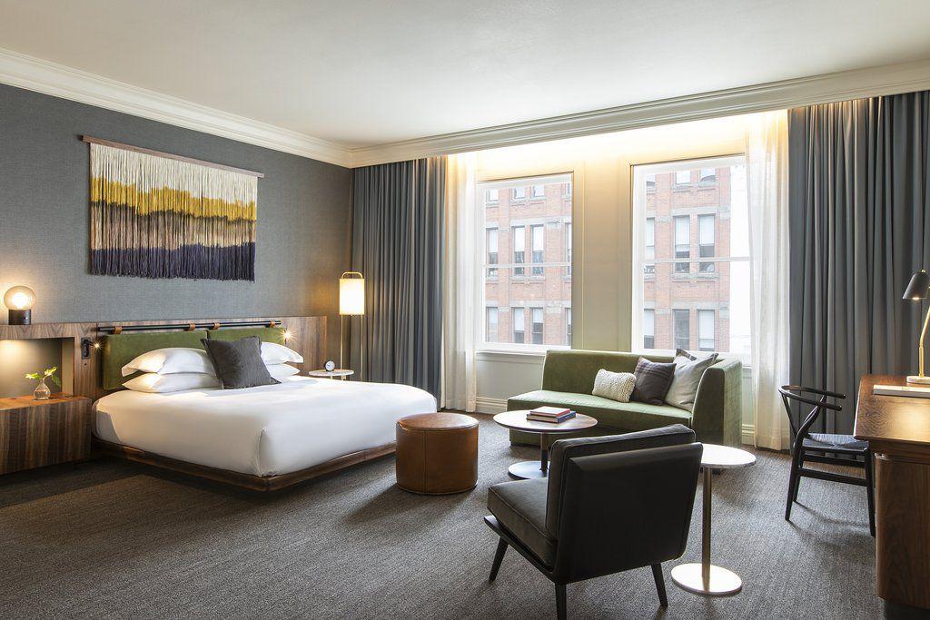 Junior suite bedroom at the Kimpton Alexis Hotel
