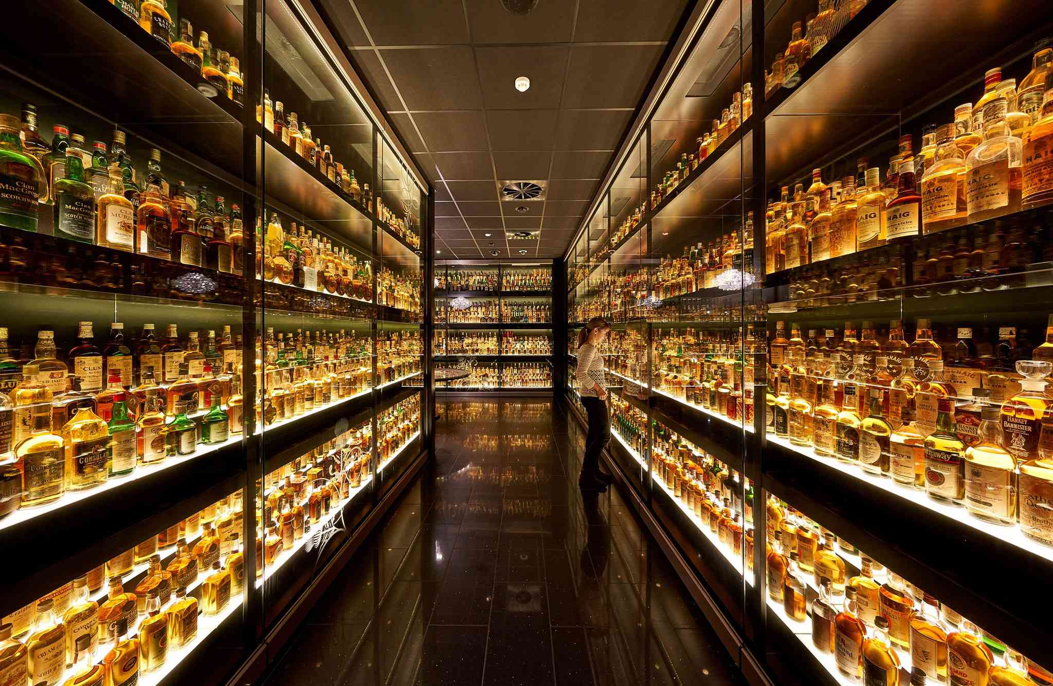 a dark room with walls lined with illuminated shelves of scotch whisky
