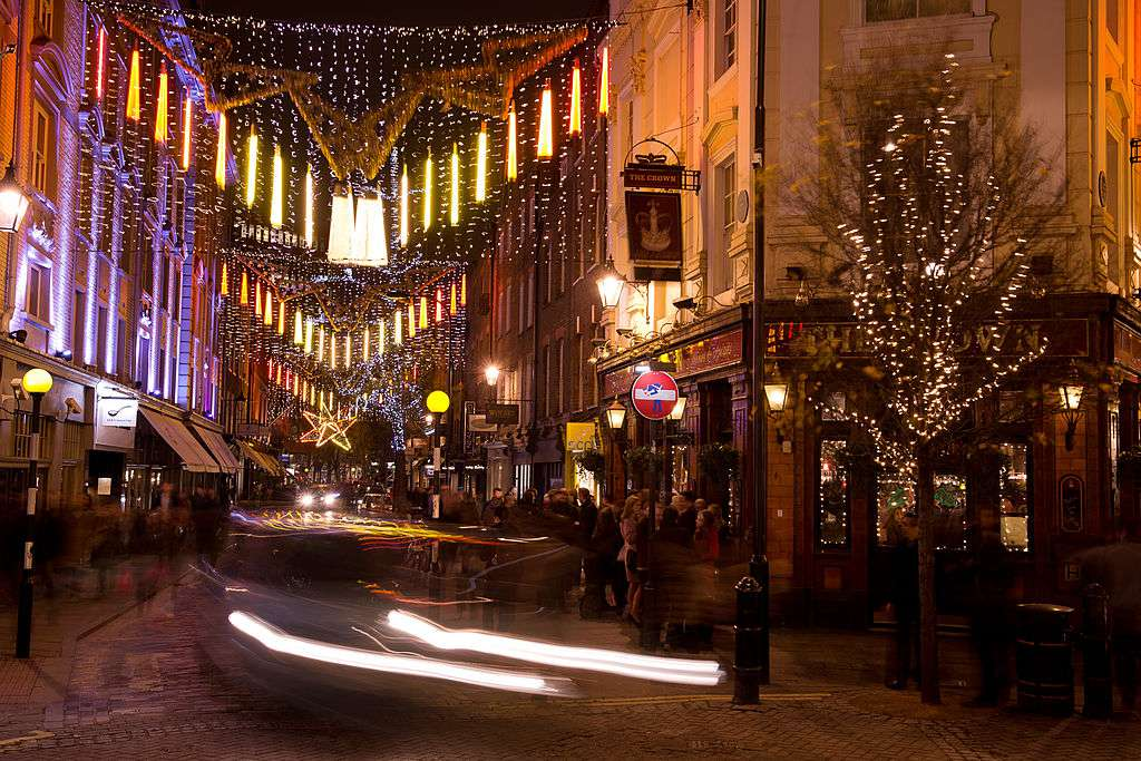 Seven Dials holiday lights in London