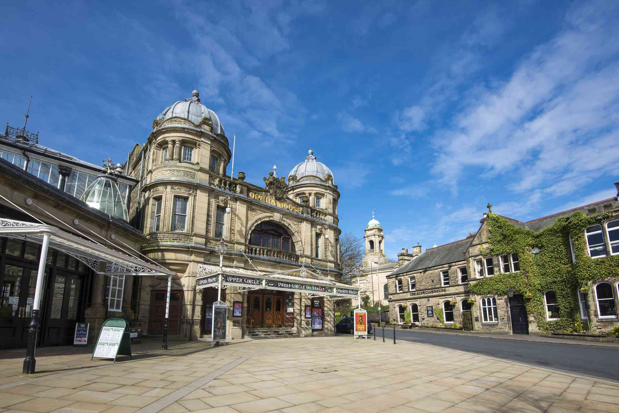 The front of the Opera House in Buxton, England taken on a sunny spring day.