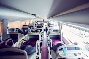 Inside of a sleeper overnight bus in Asia