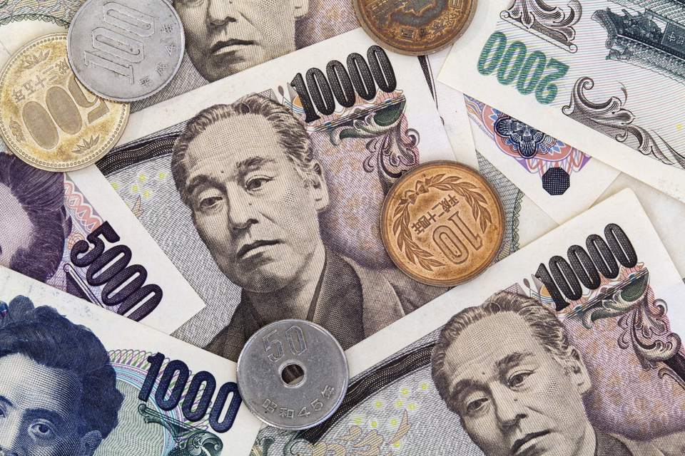 Detail of Japanese paper currency, Yen, and coins, Japan