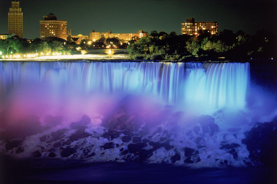 Niagara Falls w/ blue light, NY