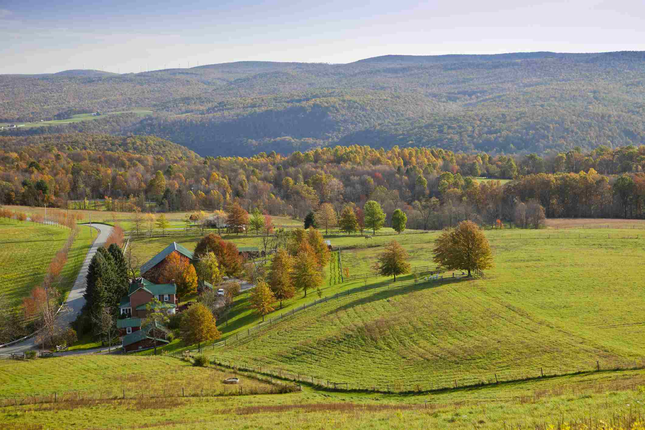 Scenic view of Allegheny Mountains in the Laurel Highlands from Kentuk Knob