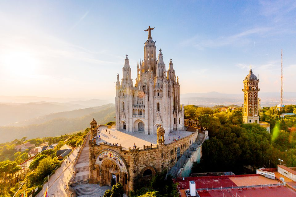 Aerial view of Barcelona skyline with Sagrat Cor temple, Catalonia, Spain
