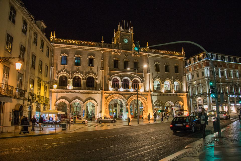 Rossio station by night