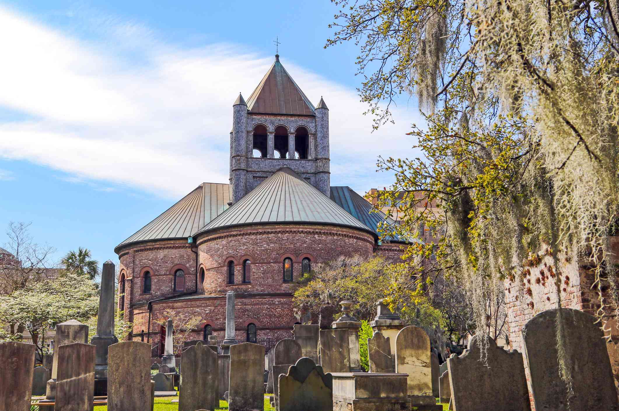 The iconic Circular Church downtown Charleston, SC and its old historic cemetery