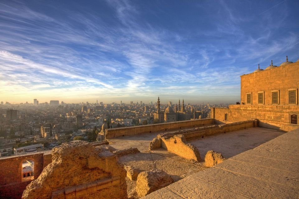 The cityscape of Cairo at sunset from the Citadel and the Mosque of Muhammad Ali