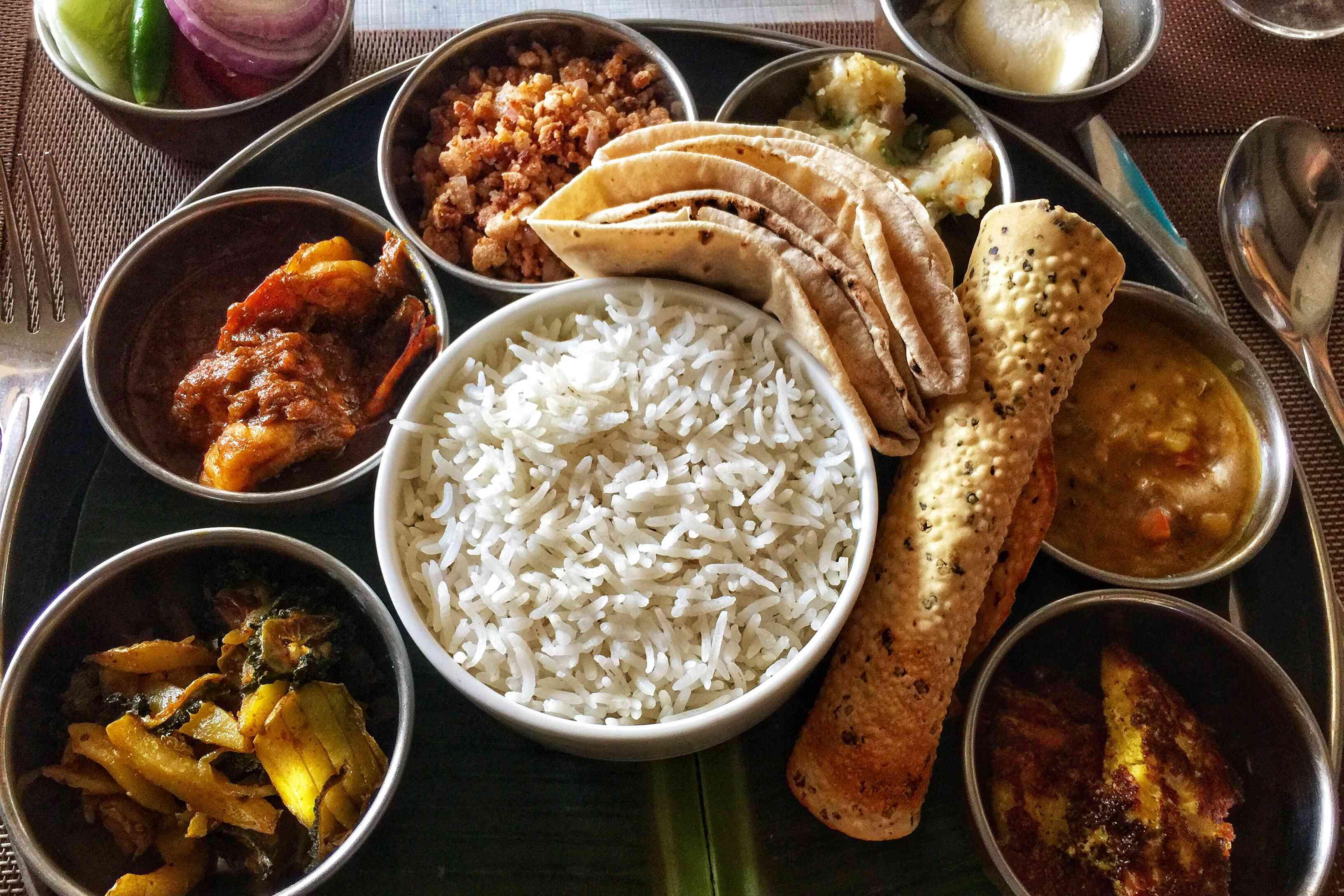 Odia seafood thali (platter).