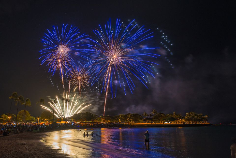 Fireworks for Fourth of July at Ala Moana Beach Park in Honolulu on Oahu