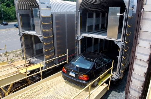 Loading Vehicles onto the Amtrak Auto Train