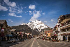 Cascade Mountain backdrop for Banff main street, Alberta, Canada