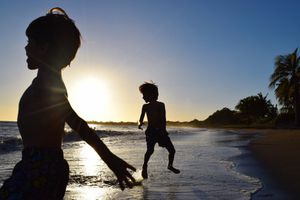 Silhouette Boys On Beach Against Sky During Sunset in Puerto Rico