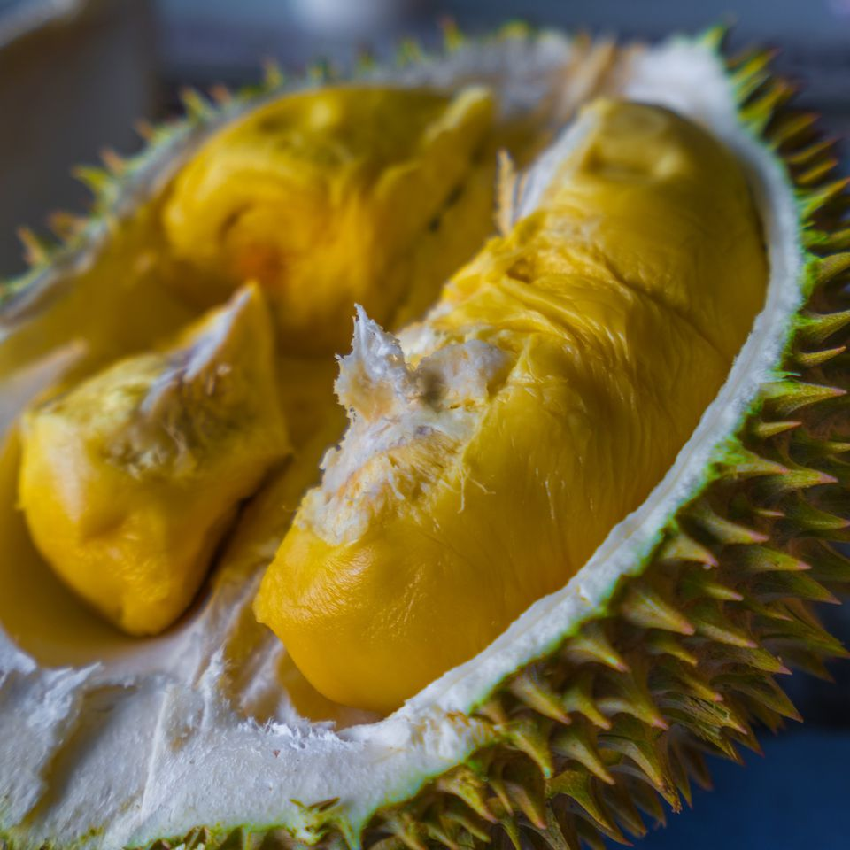 Freshly opened durian fruit