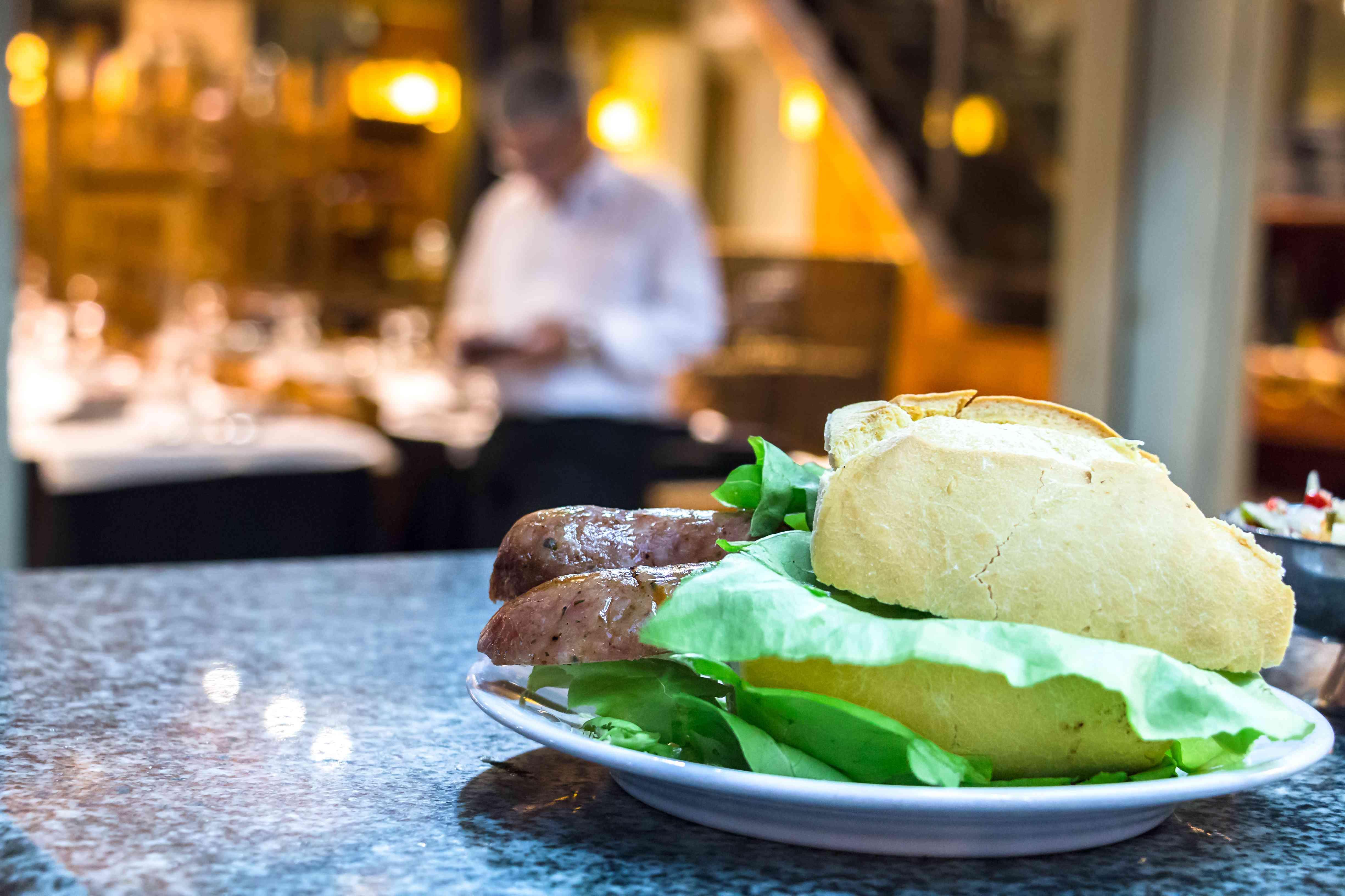 A choripan sandwich in Montevideo.