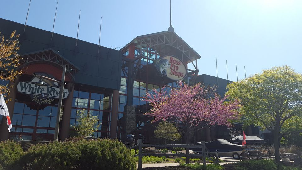 Exterior of the Bass Pro Shops at River Falls Mall in Clarksville, IN