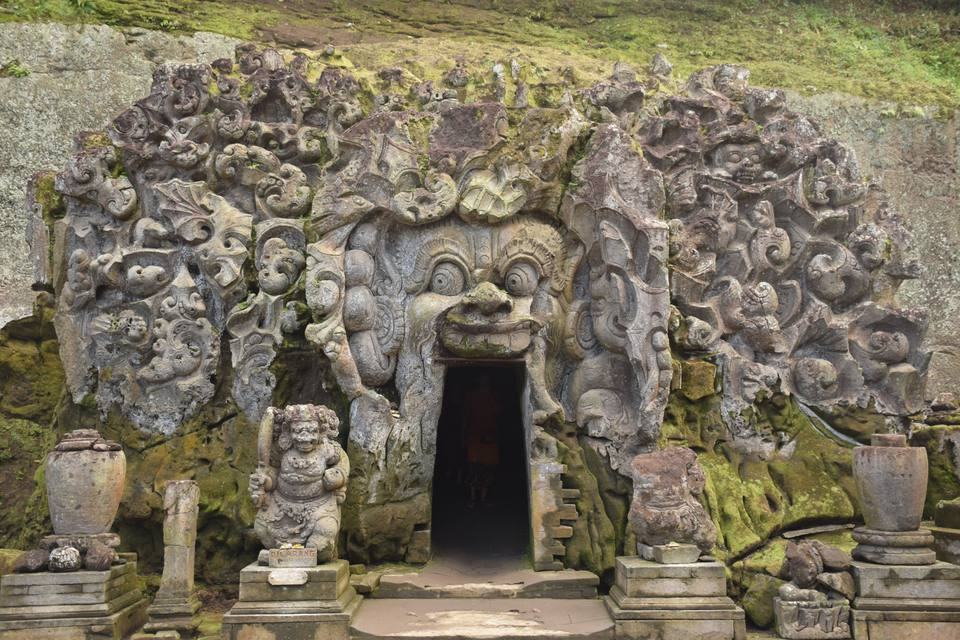 The entrance of Goa Gajah sanctuary