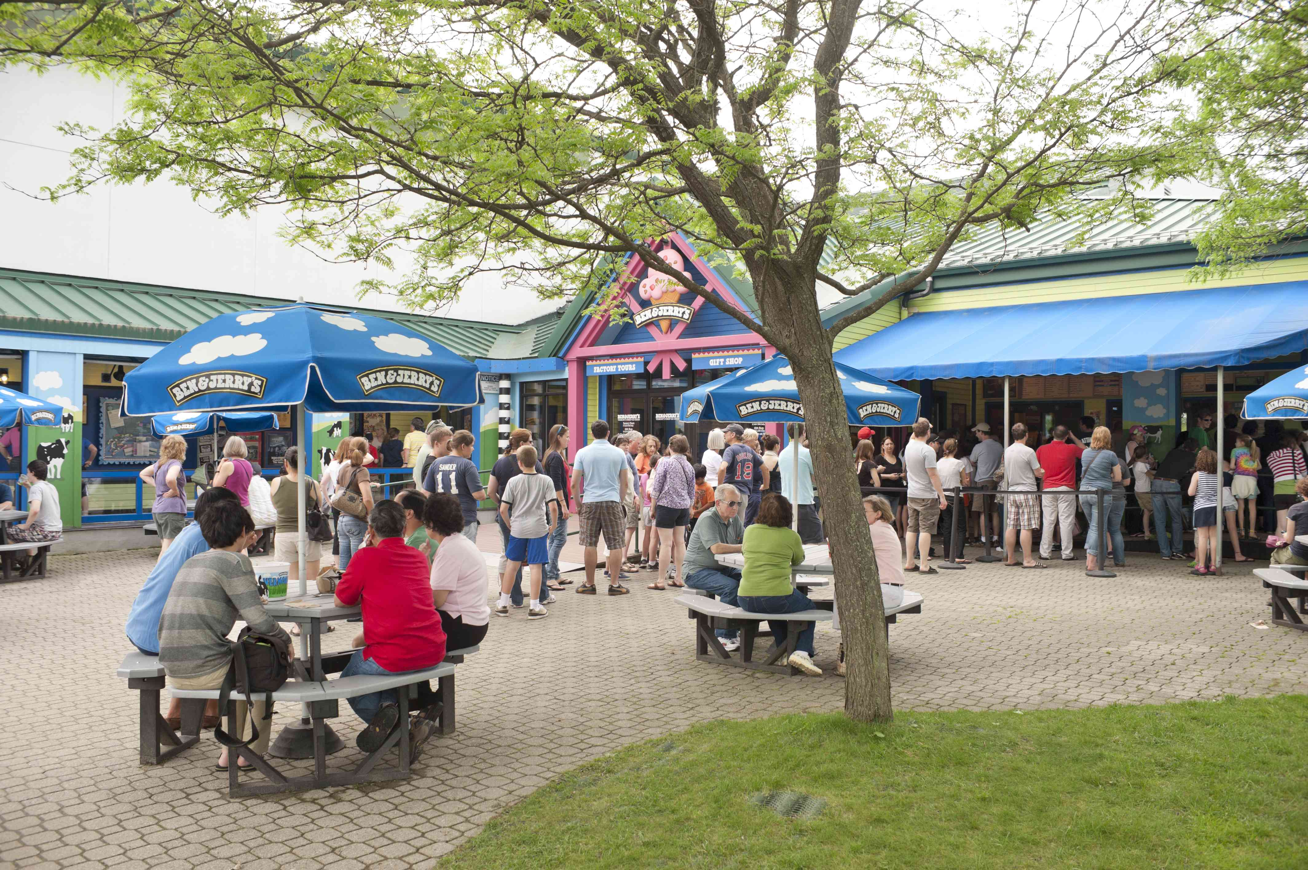 Visitors at Ben and Jerry's ice cream factory in Vermont