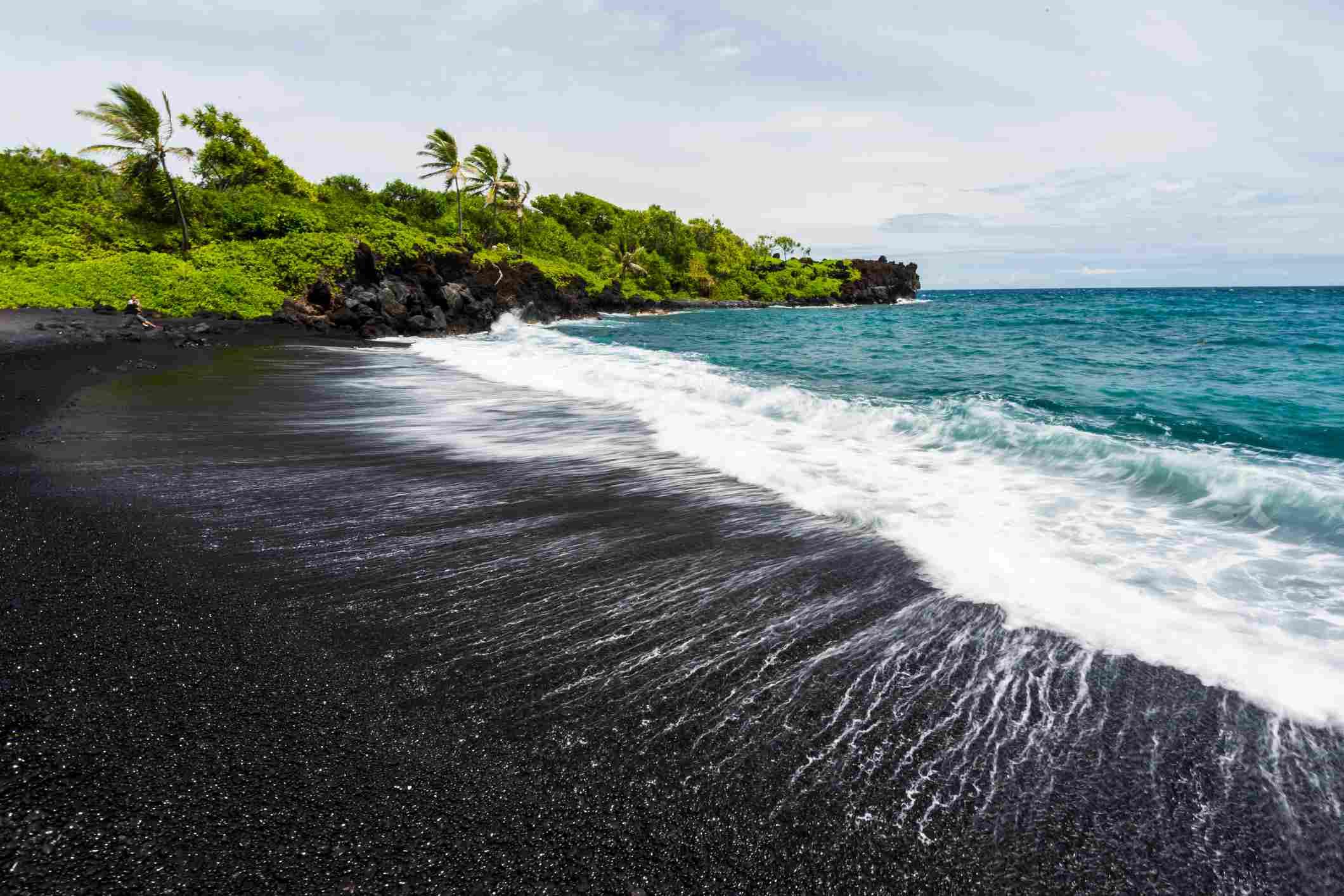 Punalu'u Black Sand Beach in Hawaii.
