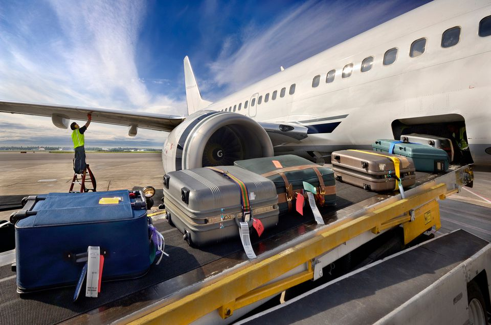plane and luggage on runway