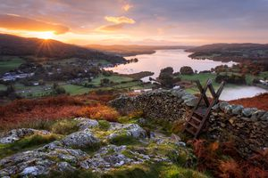 Stile, Loughrigg Fell, Ambleside, Windermere Lake, Lake District, Cumbria, England
